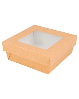 small boxes+lids w/window 500 ml 270 + 18 pe gsm 12x12x5 cm brown cardboard (250 unit)