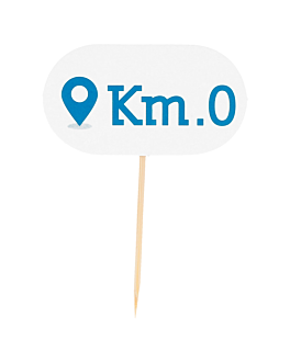 """km 0"" markers 8 cm white wood (100 unit)"
