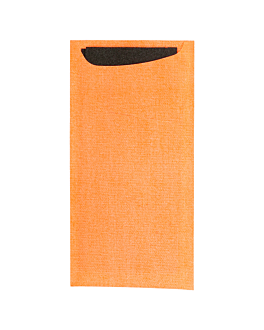 cutlery sachets + airlaid black napkin 33x40 cm 'just in time' 90 + 10pe gsm 11,2x22,5 cm orange cellulose (250 unit)