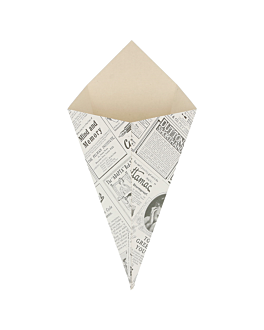 cornets frites 'times' 250 g 250 g/m2 16x27 cm blanc carton (1200 unitÉ)