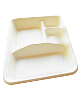 bandejas 4 compart. 'bionic' 23x17x3,5 cm branco bagaÇo (400 unidade)