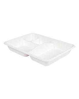 trays 4 compart. 'bionic' 23x17x3,5 cm white bagasse (400 unit)