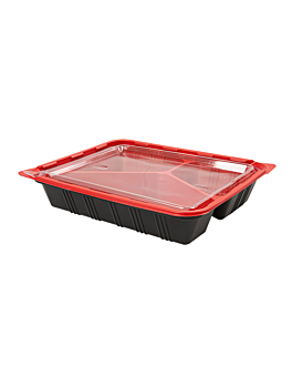 microwaveable containers individual meal 22,5x18x4,5 cm black pp (400 unit)