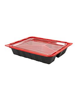 bandejas microondables comida individual 22,5x18x4,5 cm negro pp (400 unid.)