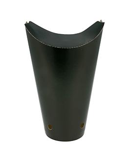 vasos fritas con cierre 22 oz - 660 ml 220 + 18 pe g/m2 8,5x18 cm negro cartoncillo (50 unid.)