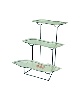 "stand steel/green glass ""s"" 3 levels 70x60x50 cm (1 unit)"