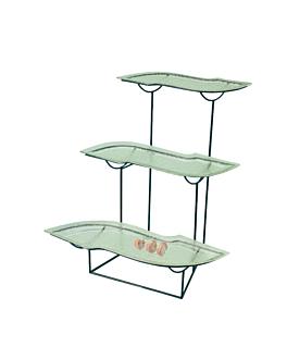 """stand acier/verre vert """"s"""" 3 niveaux 70x60x50 cm (1 unitÉ)"""