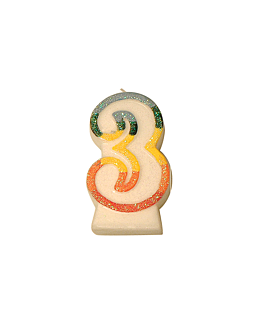 velas cumpleaÑos n.3 escarchadas 9 cm blanco cera (24 unid.)