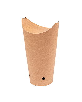 chips cups closed 22 oz - 660 ml 200 + 25pe gsm 8,5x18 cm brown cardboard (1000 unit)