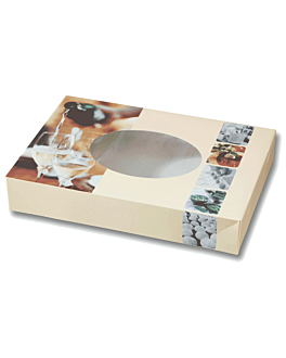 50 u. cartons automontables traiteur avec fenÊtre 46,5x32x8 cm quadrichromie carton (50 unitÉ)