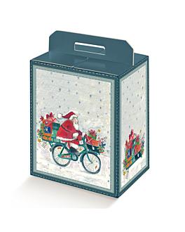"""50 u. boÎtes bouteilles/autres """"santa on bike"""" 28x20x35 cm carton (1 unitÉ)"""