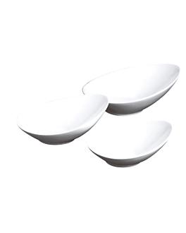 bols allongÉs 29x25x12 cm blanc porcelaine (2 unitÉ)
