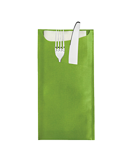 cutlery sachets + airlaid white napkin 33x40 cm 'just in time' 90 + 10pe gsm 11,2x22,5 cm kiwi cellulose (250 unit)