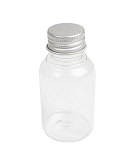 bottles with aluminum cap 60 ml Ø4x8,1 cm clear pet (100 unit)