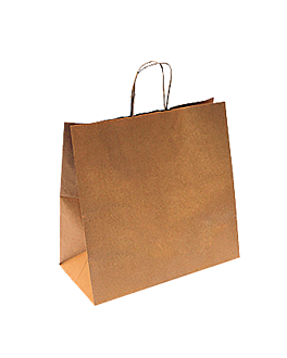 sos bags with handles 90 gsm 32+16x31 cm natural kraft (250 unit)