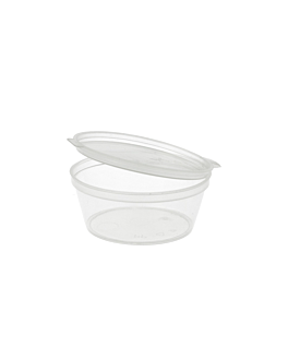 small containers + incorporated lid 60 ml Ø6/4,6x2.5 cm clear pp (1000 unit)