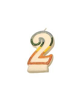 velas cumpleaÑos n.2 escarchadas 9 cm blanco cera (24 unid.)