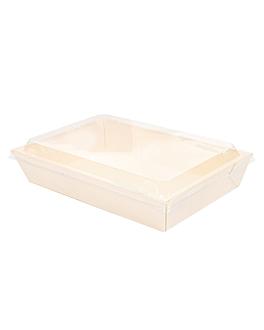 combo containers + pet lids 21,5x14,5x5 cm natural wood (200 unit)