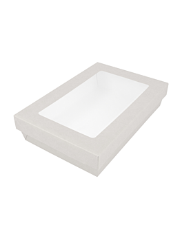 small boxes+lids w/window 1300 ml 290 + 18 pe gsm 21x14x5 cm white cardboard (200 unit)