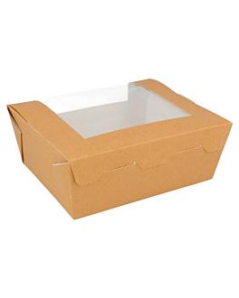 cajas americanas con ventana frontal 300 g/m2 15,3x12,1x6,4 cm natural kraft (300 unid.)