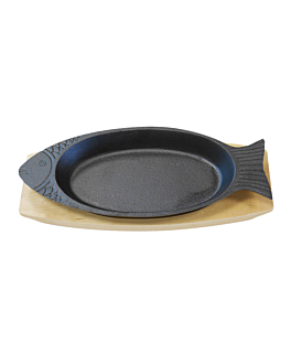 platter for fish + wooden base 48x19,5 cm black iron (6 unit)