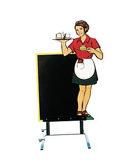 """cartelera exterior """"camarera"""" 87x153 cm negro madera (1 unid.)"""