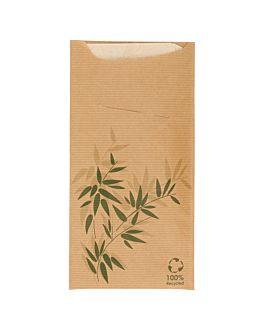 buste porta posate + tovagliolo 'just in time - feel green' 80 + 10pe g/m2 11,2x22,5 cm naturale kraft a costine (400 unitÀ)