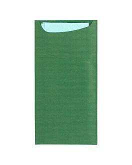 buste portaposate +tovagliolo 'just in time' 80 + 10pe g/m2 11,2x22,5 cm verde kraft a costine (400 unitÀ)