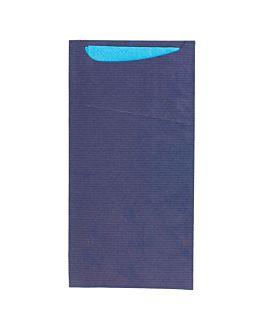 buste portaposate + tovagliolo 'just in time' 80 + 10pe g/m2 11,2x22,5 cm blu kraft a costine (400 unitÀ)