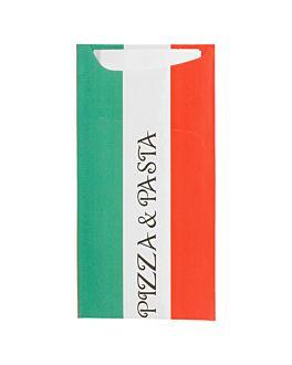 buste portaposate + tovagliolo 'just in time - pizza & pasta' 90 + 10pe g/m2 11,2x22,5 cm bianco cellulosa (400 unitÀ)