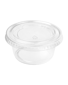 50 small containers + 50 lids 100 ml Ø7,4x3,5 cm clear pp (24 unit)