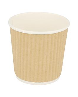 gobelets boissons chaudes double paroi, ondulÉ 120 ml 230 + 250 + 18 pe g/m2 Ø6,2/4,5x6 cm marron carton (1000 unitÉ)