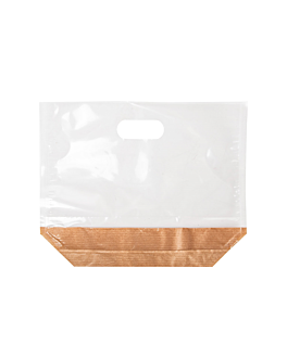 bags with base and handles 'turtle pack' 50 gsm + 15 pp 22x18x4,5 cm natural kraft (50 unit)