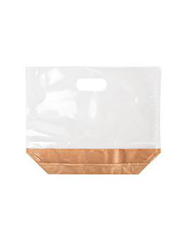 sachets avec base et poignÉes 'turtle pack' 50 g/m2 + 15 pp 22x18x4,5 cm naturel kraft (50 unitÉ)