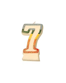 bougies anniversaire n.7 givre 9 cm blanc cire (24 unitÉ)