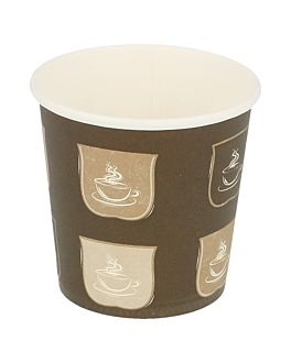 single wall hot drink cups 120 ml 230 + 18 pe gsm Ø6,2/4,5x6 cm brown cardboard (1000 unit)