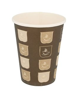 single wall hot drink cups 360 ml 300 + 18 pe gsm Ø9/6x11 cm brown cardboard (900 unit)
