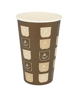 single wall hot drink cups 480 ml 300 + 18 pe gsm Ø9/6x13,2 cm brown cardboard (1000 unit)