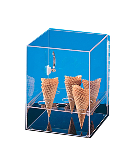 display for 9 ice cream cones with door 31x31x38 cm clear acrylic (1 unit)
