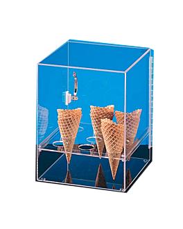 display pour 9 cornets de glace avec porte 31x31x38 cm transparent acrylique (1 unitÉ)