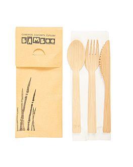 set tenedor, cuchillo, cuchara + servilleta 20 cm natural bambÚ (50 unid.)