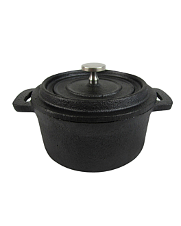 round cocotte with lid Ø 12,7(16,5)x5,7 cm black iron (6 unit)