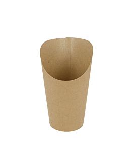 vasos fritas abiertos 'natural' 9 oz - 270 ml 200 + 25pe g/m2 Ø7x10,5 cm marrÓn cartoncillo (2500 unid.)