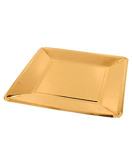 pratos quadrados 405 g/m2 25x25 cm dourado cartÃo (200 unidade)