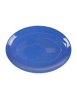 assiettes ovales 25,5x18 cm bleu melanine (15 unitÉ)