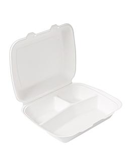 contenitori 3 scomparti 'bionic' 950 ml 23x18x7,3 cm bianco bagassa (200 unitÀ)