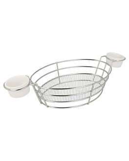 oval baskets + 2 tubs 32,5x15x5,8 cm silver stainless steel (6 unit)