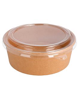 combo ensaladeras+tapas 1300 ml 320 + 18 pe g/m2 Ø 18,5/16x6,5 cm natural kraft (200 unid.)