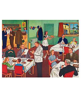 sets de table offset 'au restaurant' 70 g/m2 31x43 cm quadrichromie papier (2000 unitÉ)