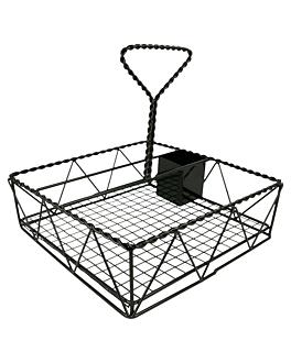 """cestino """"caddy"""" quadrato 25x25x24 cm nero metal (1 unitÀ)"""